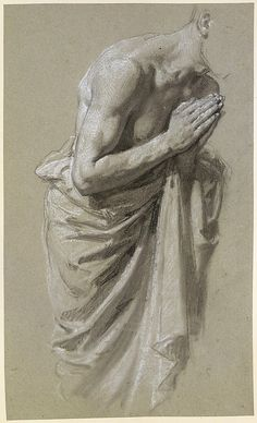 Isidore Pils (1813/15–1875), Study for Clovis (for wall paintings in the Chapel of Saint Remi, Sainte-Clotilde, Paris, 1858); Black chalk, white chalk, on gray paper; 38.4 x 23.1 cm