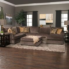 When it's time to unwind the Teddy 3 piece sectional will be your go-to spot for serious coziness. The back cushions are fiber filled for softness and double welted to hold their shape. Brown Couch Living Room, Living Room Sectional, Home Living Room, Living Room Furniture, Living Room Decor, Brown Sectional, Large Sectional Sofa, Furniture Layout, Sofa Furniture