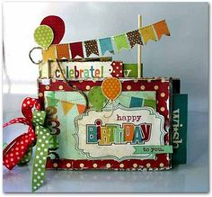 Simple stories mini album: Happy Birthday - cute polka dots and colors