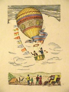 Montgolfiers prints of Florence antique Hot Air Balloon Illustration Air Ballon, Hot Air Balloon, Antique Maps, Antique Prints, Vintage Postcards, Vintage Images, Ballon Illustration, Steampunk, Illustrations