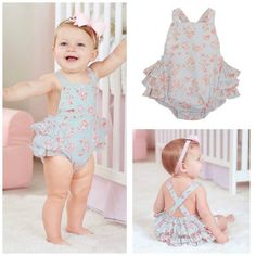 Smocked actions com Baby Ruffle Romper, Baby Girl Romper, Little Girl Dresses, Baby Girl Newborn, Baby Dress, Cute Outfits For Kids, Toddler Outfits, Baby Girl Fashion, Kids Fashion