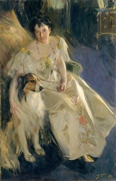 Mrs. Bacon with Collie, by Anders Zorn, 1897