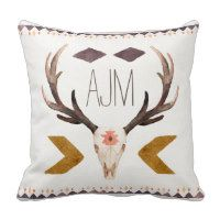 Southwest Aztec Throw Pillows with skull and monogram