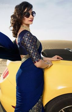 Exceptional and Mind Blowing Blouse and Saree Designs with Embroidery Silk Saree Blouse Designs, Bridal Blouse Designs, Fancy Sarees, Party Wear Sarees, Blue Silk Saree, Royal Blue Saree, Sarees For Girls, Prachi Desai, Stylish Blouse Design
