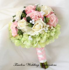Pink Wedding Bouquet Bridal Roses Hydrangea by TimelessWedding