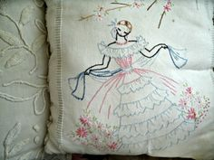 SALE handmade pillow from vintage linens chenille SOUTHERN BELLE
