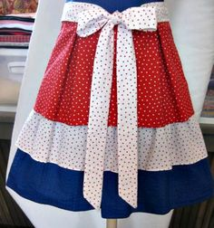 Shabby Chic Apron perfect for your 4th of July party :)  Tiers of Red, White  Blue by LoftyLady, $22.00