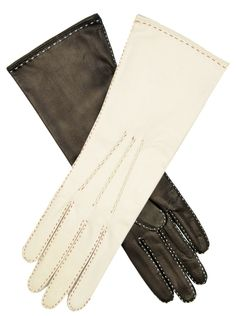 976cdab61 Italian Silk Lined Handsewn 4-Button Length Leather Gloves with Contrast  Stitching Elegant Gloves,