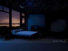 Glows in the Dark Star Ceiling   200 - 1000 Realistic Star Stickers   Crescent Moon and Shooting Stars Decal by StellaMurals on Etsy https://www.etsy.com/listing/267843953/glows-in-the-dark-star-ceiling-200-1000