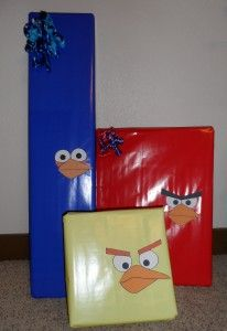 Angry birds presents--and other party ideas including cake pizza and games!