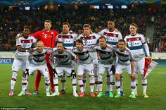 Feb.17th. 2015: The Bayern Munich team line up prior to kick-off in the Arena Lviv as they prepare to face Shakhtar Donetsk in the Champions League.
