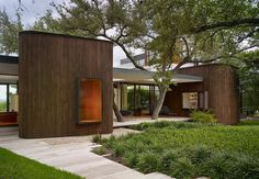 Alterstudio Architecture of Austin designed this house in the Texas capital for a young family of four. Tagged: Exterior, House Building Type, and Wood Siding Material. Photo 1 of 7 in A Sensitive Modern House in Austin, Texas. Residential Architecture, Contemporary Architecture, Architecture Design, Contemporary Homes, Modern Family, Home And Family, Young Family, Houses In Austin, Indoor Outdoor Living