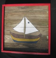 Sail Boat Painting-Recycled Wooden Panel-Vintage-Hand painted. $85.00, via Etsy.