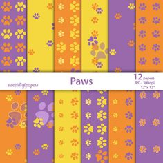 Paws digital paper pack, paws scrapbook, orange background, purple scrapbook, baby shower paw by sweetdigipapers on Etsy