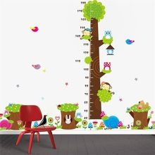 CD003 Cartoon jungle animals children height measure wall stickers for kids room wall sticker home decoration(China (Mainland))