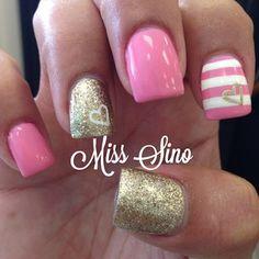nails.quenalbertini: Pink & gold Valentines Nails | Miss Sino