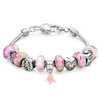 Pugster Mother Theme Pink Murano Glass And Metal Beads Bracelet Dangle Tree