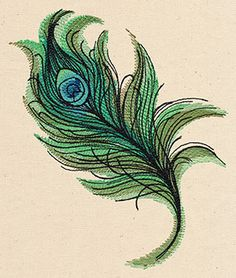Painted Peacock Feather | Urban Threads: Unique and Awesome Embroidery Designs