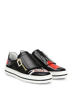Roger Vivier Sneaky Viv Zip Love Tattoo Leather Sneakers