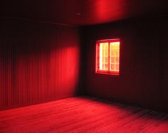 Crimson red room interior, surreal, spooky, window, Halloween, pop gothic home decor- Red Room 8 x 10