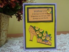 High heel shoe filled with hand shaped flowers card by LuvinItCREATIONS on Etsy