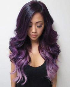 Purple black hair, light purple hair, pastel purple, ombre hair lavender, b Purple Black Hair, Light Purple Hair, Brown Ombre Hair, Hair Color Purple, Red Hair, Plum Hair, Dark Hair, Dark Purple, Black Ombre