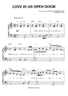 """Love Is An Open Door"" Sheet Music from 'Frozen' for Big Note Piano: www.onlinesheetmusic.com"