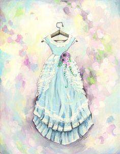 Dress in Blue Painting Shabby Chic Romantic Vintage Lady Poppins via Etsy. Dress Painting, Blue Painting, Sweetest Devotion, Blue Shabby Chic, Mother Art, Vintage Prints, Artwork Prints, Illustrators, Vintage Dresses