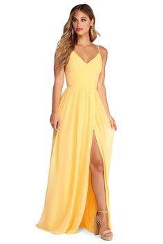 Windsor Polly Formal High Slit Dress in Yellow Yellow Bridesmaid Dresses, Grad Dresses, Formal Dresses, Summer Dresses, Dresses Dresses, Fashion Dresses, Windsor Dresses Prom, Sleeveless Dresses, Chiffon Dress Long