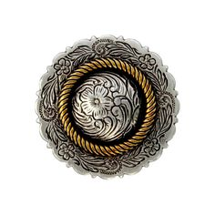 """FA4863-2 ASAG Antique Silver and Gold Center Rope Concho 1 1/4"""""""