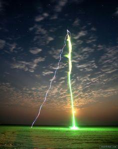 Field sky green lightning nature photo rocket