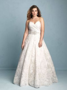 Dress Post of the Day....Yay or Nay Designer: Allure Bridals ~ Style #W351 Details: A gorgeous overlap of textures makes this satin, tulle and lace combination gown stand out. Fabric: Taffeta and Lace Colors: White/Silver, Ivory/Silver, Champagne/Silver Size: 14W - 32W  #yaynaythedress #weddingdress #plussize #curvybrides #bride #prettypearbride