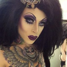 Stunning eye makeup! Sorta Zombie Bride look, so hot! [Photo by ripporcelain Drag Queen]