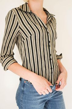 c8ba188453 Vintage Clothing   90s Blouse   Vintage Striped Blouse   Collared Blouse    90s Clothing   XS Vintage