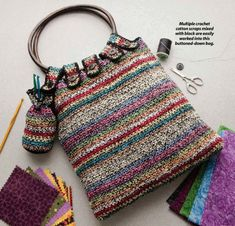 X112 Crochet PATTERN ONLY Scraps Bag Purse Tote Pattern. $4.95, via Etsy.