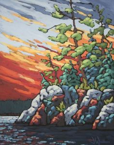 Jennifer Woodburn I love the style and composition; it kind of reminds me of some older styles I saw in my youth. Abstract Landscape Painting, Acrylic Painting Canvas, Landscape Art, Landscape Paintings, Contemporary Landscape, Gouache, Pastel Art, Canadian Artists, Whimsical Art