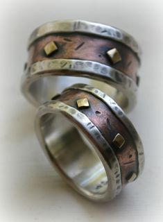 Mens Wedding Band Rustic Fine Silver Br And Por Maggidesigns Anillos Pinterest Wide Rings Weddings