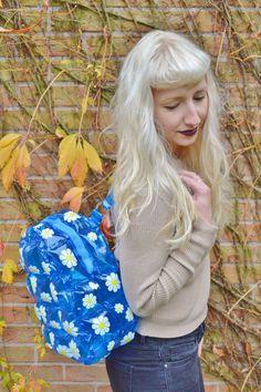 Bleu Turquoise 90 s Marguerite Fleur Floral Club Kid voir à travers en plastique transparent Blow Up bulle gonflable sac sac à dos sac à dos