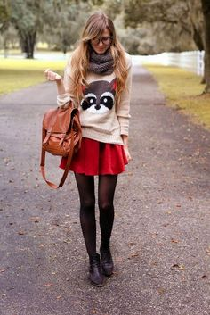 Lovely Sweater with Suitable Skirt and Bag. Grey Scarf, Adorable Combination