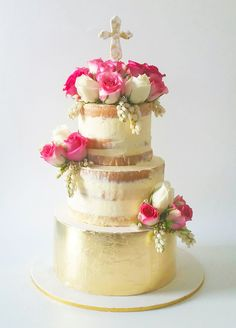 Semi naked prettiness adorned with gorgeous blooms and gold leaf Gorgeous Cakes, Pretty Cakes, Christian Cakes, Christening Cake Girls, Metallic Cake, Religious Cakes, Naked Cake, Communion Cakes, Cookie Gifts