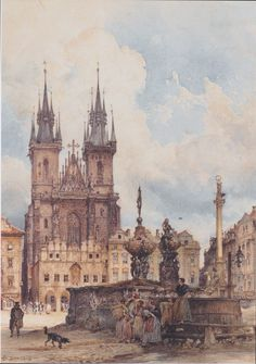 Prague Watercolor Paintings | View of the Old Town Square with the Church in Prague They