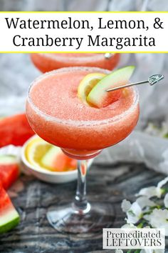Warm weather is just around the corner and having a go-to cocktail is essential! Try this refreshing Watermelon, Lemon, and Cranberry Margarita. drink recipe using fruit and juice.