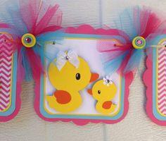 Rubber duck banner, duck baby shower banner, its a girl banner, girl baby… Rubber Ducky Party, Rubber Ducky Baby Shower, Baby Shower Duck, Fiesta Baby Shower, Baby Shower Winter, Baby Shower Cakes, Girl Shower, Regalo Baby Shower, Diy Birthday Banner