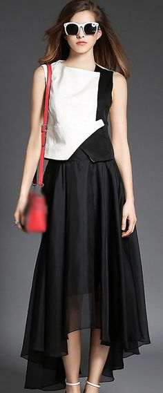 Fashion Simple Hit Color Organza Irregular Hem Two Piece Maxi Dress