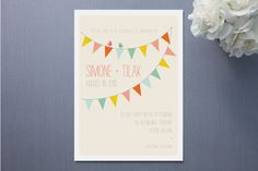 tie in invitation with fabric calico flags