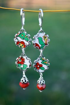 Lucy Earrings - Vintage Tin Handmade Repurposed Recycled Antique Silver Jewelry Red Floral