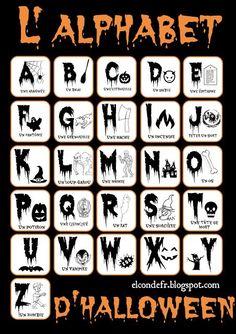 fr: L'Alphabet d'Halloween - decorationdiyroom. Theme Halloween, Halloween Activities, Holidays Halloween, Halloween Decorations, Halloween Ideas, French Teaching Resources, Teaching French, French Teacher, French Alphabet