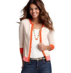 Ann Taylor Loft colorbock 3/4 sleeve cardigan. I would totally wear this. I love love love the Loft!