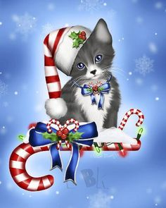 These high quality christmas paintings and christmas artwork are perfect for your home! Choose from a custom canvas and frame finish for your artwork. Christmas Scenes, Noel Christmas, Christmas Pictures, Christmas Greetings, Vintage Christmas, Xmas, Christmas Kitten, Christmas Animals, Image Digital