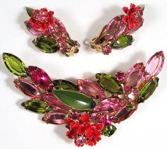 Vintgage Juliana D E Brooch Earring Set w Rhinestones Enamel Flowers